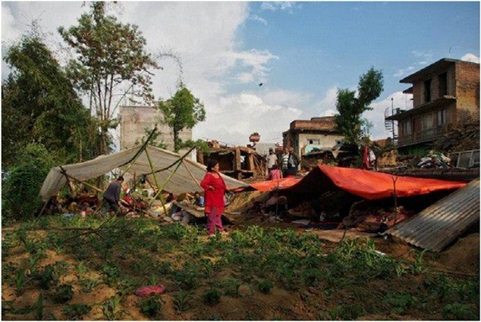 Families taking shelter on Sunrise Farm.