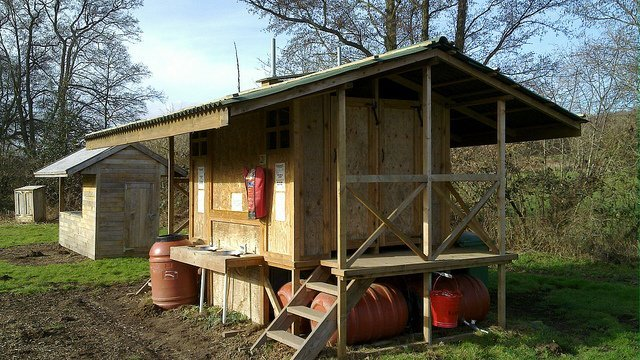 Composting Toilet Block with Rotating Barrels (Courtesy of United Diversity)