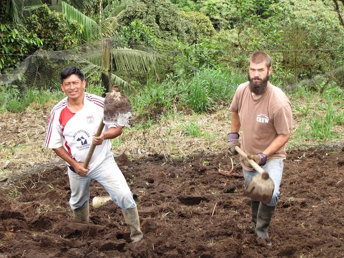 Obligingly tilling the hillside in Las Tolas, Ecuador, a move I'm not sure I would personally repeat, but nevertheless was doing as instructed.