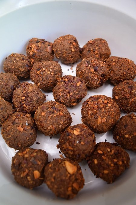 Sachi inchi nuts encased in ojoche flour, grated coconut, and homemade caramel, and rolled in local crushed cacao nibs.