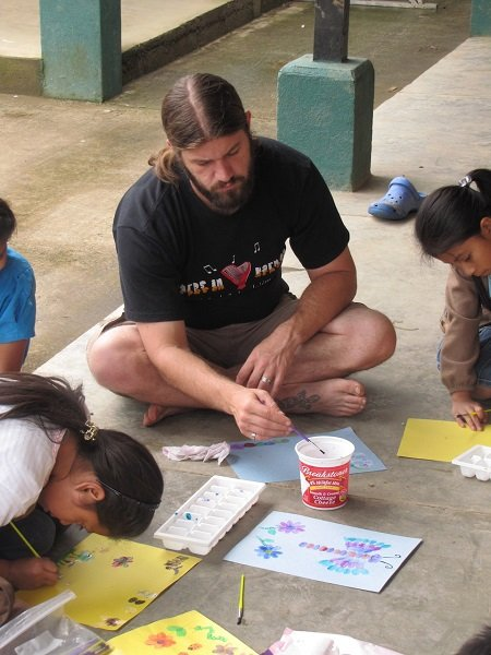 Volunteering in my wife's art class in Aldea El Hato, Guatemala, and actually having a lot more fun than it appears. That is a look of concentration.