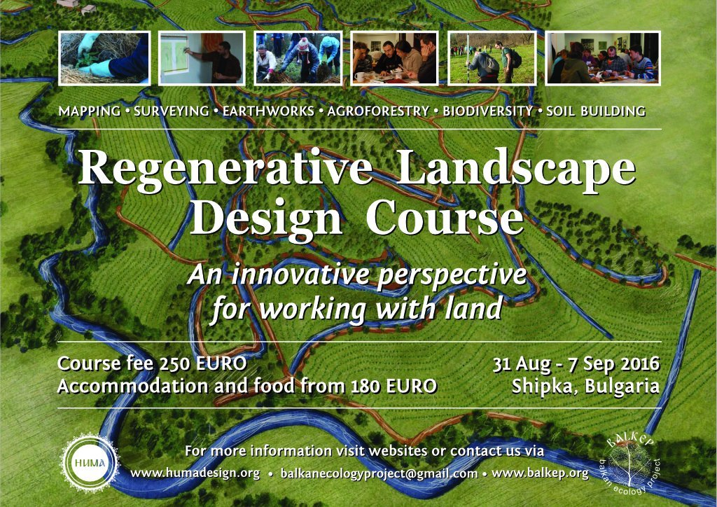 Regenerative Landscape Design Course  Aug 31 - Sep 7.