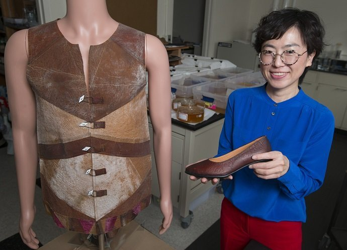 Young-A Lee and her research team have designed a vest and shoe prototype from the cellulosic fiber grown in this lab. Image credit: Christopher Gannon