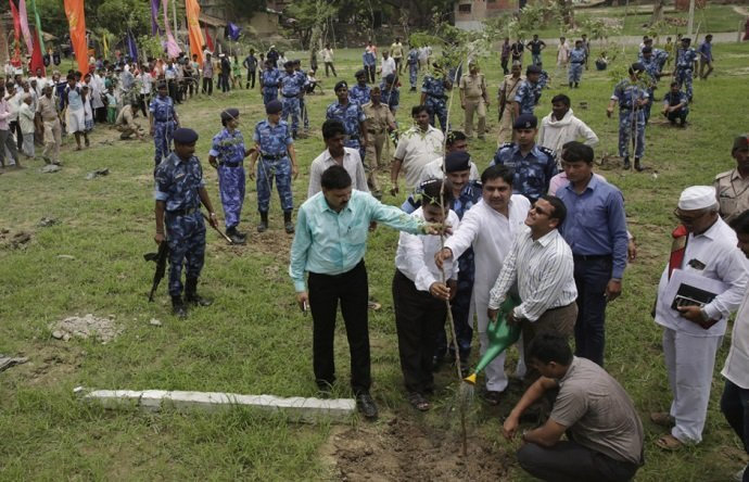 Government officials water saplings after planting. Image credit: AP Photo/Rajesh Kumar Singh