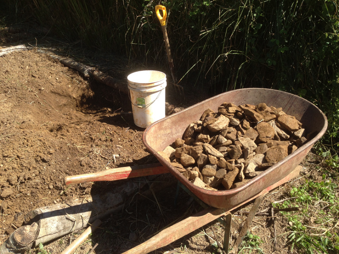 One of the two wheelbarrow loads of stone that came out of the beds.