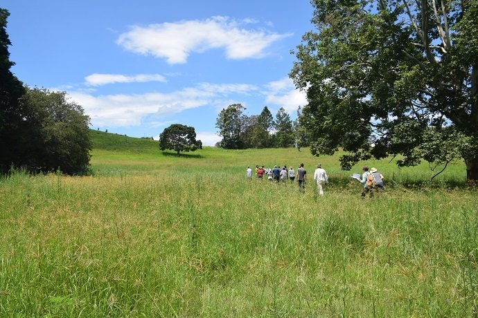 Students walking the property with Fionn for the Zaytuna Farm PDC in 2015