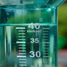 Filled rain gauge