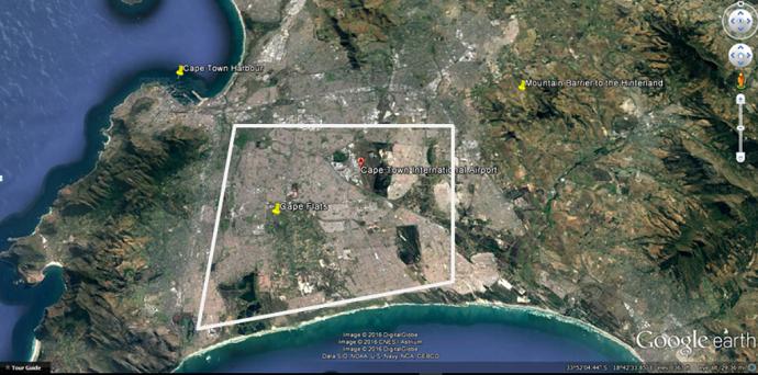 "Image Attribution: Google Earth: 33°57'9.57""S 18°35'33.89""E"