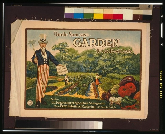 Uncle Sam Says - Garden to Cut Food Costs: Library of Congress: Public Domain