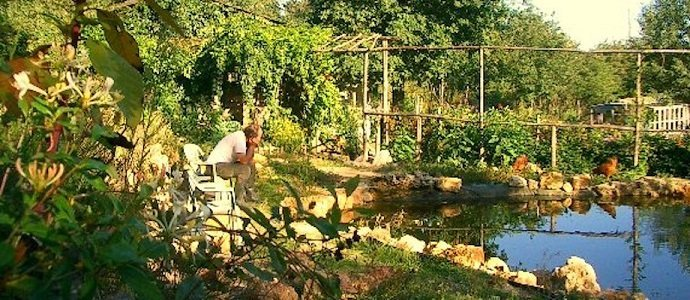 The Permaculture Research Insute on natural looking bird baths, natural looking fencing, natural looking pond liners, natural looking waterfalls, natural looking porches, natural looking retaining walls,