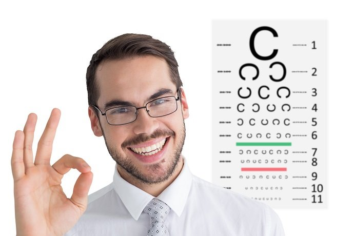 Happy businessman making okay gesture against eye test. Makes no sense.