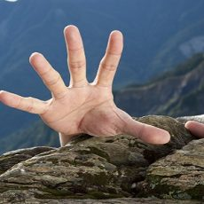hand for help on the mountain