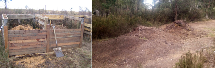 Left: Our initial composting system using four bays, constant rotations and a lot of manual labour. Right: Our current composting system, which allows for larger quantities, but less aeration and watering.