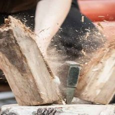 Wood chopping with hand axe