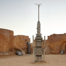 A rocket model and buildings in Ong Jemel, Tunisia. Ong Jemel is a place near Tozeur, where the movies Star wars and the English Patient were filmed.