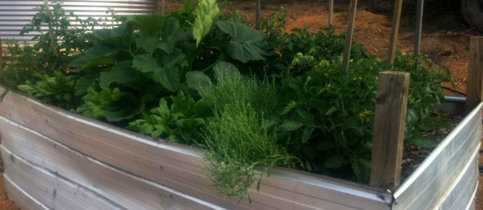 A simple aluminum raised garden bed
