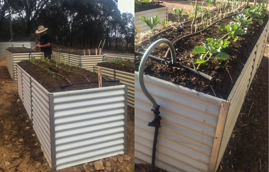 Watering system for aluminum frame raised beds